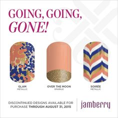 Who is an #Orange fan?  These wraps all go with each other, but won't last for long since they are #GoingGoingGone.  Click amandabaker.jamberry.com to get your retiring wraps before they are gone for good.  #GlamJN #OverTheMoonJN #SoireeJN