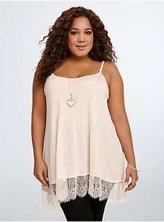 "<p>Yup, we just the won the lace race with this tank top. Get on our #winning level with this peach slub knit tank. Breezy x flowy x airy knit = ultimate comfort. Sexy eyelash trim x itty bitty straps x loose fit = we're just sealing the deal.</p>  <p> </p>  <p><b>Model is 5'10"", size 1</b></p>  <ul> 	<li>Size 1 measures 35"" from shoulder</li> 	<li>Rayon/nylon</li> 	<li>Wash cold, hang dry</li> 	<li>Imported plus size tank</li> </ul>"