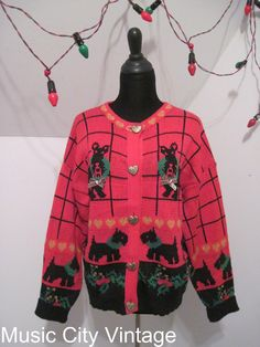Ugly Christmas Sweater Jumper Cardigan,Tacky, Scottie Dogs, Wreaths, Bows, Vintage 80s, via Etsy.