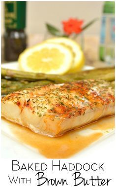 Baked haddock fillets drizzled with brown butter. Simple & delish. Brown butter takes any piece of white fish from good to gourmet | www.craftycookingmama.com | #SNPSweepstakes #HealthyHeartPledge #ad