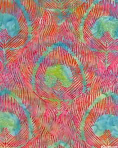 """Celery, Seafoam, Turquoise, Lime, Cerise, Raspberry, Peach, Flame, Aqua, Pomegranate Large scale peacock feathers with sinuous details create a lush batik filled with mesmerizing movement. Batik, peacock feathers are about 6"""", from Hoffman Fabrics."""
