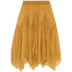 ChloéSilk-mousseline Skirt (€1.970) ❤ liked on Polyvore featuring skirts, brown silk skirt, brown skirt, silk skirt and pull on skirts