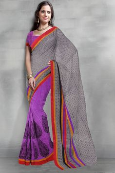 Lovely Grey & Violet Color #Casual Wear #Saree