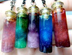 Bottled Nebula:  Cotton, glitter, water, food coloring.