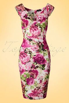 Vintage Chic - Isadora Flower Pencil Dress in Pink Unique Fashion, Floral Fashion, Fashion Line, Fashion Dresses, Vintage Fashion, Pink Fashion, Beautiful Dresses, Nice Dresses, Trendy Dresses