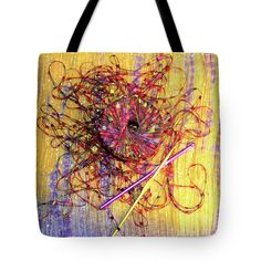 Yarn Art Series Number One Tote Bag by Erika Moriarty.  The tote bag is machine washable, available in three different sizes, and includes a black strap for easy carrying on your shoulder.  All totes are available for worldwide shipping and include a money-back guarantee.