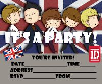 Niall, Zayn, Liam, Harry or Louis? Well, this One Direction party invitation shows all five and it's based on the cover of their album 'Take me Home' - click on the image to view this party invite at  full size - it's a large image and high resolution so it will print nice and sharp even on A4. If you're printing it at A4 size , then card stock might be the way to go... enjoy it One Directioners!
