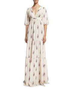 W0ATM Vilshenko Half-Sleeve Floating Rose-Print Silk Gown, Multi
