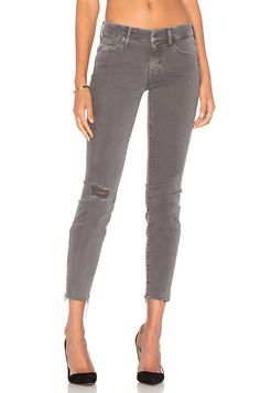MOTHER DENIM The Looker Zip Fray Distressed Cut Off Ankle Skinny Jeans 26 $225 #Mother #CapriCropped