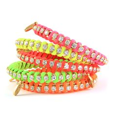 Additional Similar Links: http://www.ettika.com/BB14N-Neon-Color-Blend-Satin-Cord-Wrapped-Rhinestone-Strand-Bangle-Bracelet.html .. http://www.bluefly.com/Ettika-set-of-3-neon-rainbow-and-gold-crystal-wrapped-bangles/p/319290101/detail.fly?referer=cjunction_2687457_10436858_b28e79d6296511e3bdaabac38e5fc012&partner=Gate_AFF_2687457&c3=cj