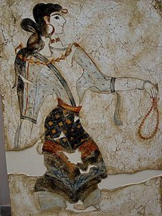 Fresco of Minoan beaty 1600 BC Crete Greece
