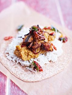 Jamie's Aubergine Daal.  Daal is a tasty, cheap and wonderful expression of how great lentil recipes can be – teamed with fluffy rice, roasted aubergine and chilli, ...