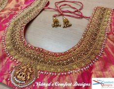 Bridal Blouse Designs done at Vidhya's Comfort Designs, Besant Nagar, Chennai Contact - 9003020689 Bridal Blouse Designs done at Vidhya's Comfort Designs, Besant Nagar, Chennai Contact - 9003020689 Wedding Saree Blouse Designs, Pattu Saree Blouse Designs, Blouse Designs Silk, Designer Blouse Patterns, Sari Blouse, Chennai, Kids Blouse Designs, Hand Designs, Embroidered Blouse