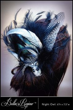 Silver and Black Feather Hairpiece by BellaReginaDesigns on Etsy, $165.00