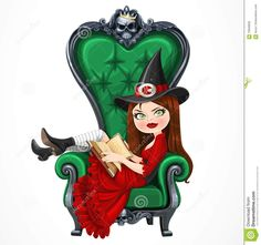 Beautiful Witch In Red Dress Sitting In Armchair With High Back Stock Vector - Image: 70948858