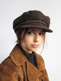 Brown Greek Fisherman Hat (L) // Vintage Wool Mariner Hat SOLD