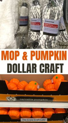 mop and pumpkin dollar store craft - how to make yarn pumpkins from dollar store supplies Pumpkin Topiary, Pumpkin Stem, Pumpkin Crafts, Dollar Tree Pumpkins, Foam Pumpkins, Dollar Store Crafts, Dollar Stores, Thick Yarn, Chunky Yarn