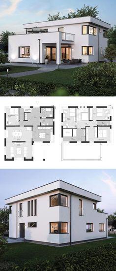 Moderne Stadtvilla Grundriss mit Flachdach Architektur & Anbau im Bauhausstil - Einfamilienhaus bauen Ideen Fertighaus ELK Haus 186 - HausbauDirekt.de
