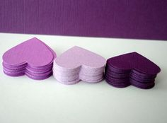 Plum Textured Paper Hearts Confettis 100 by CartesdeBelleville,