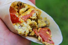 Pepperoni, Mushroom  Onion Breakfast Paleo Wrap Recipe! (Ketogenic, Gluten Free, Grain Free, and low carb)