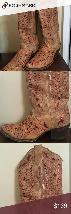 Corral Boots Tan Corral boots with red inlay. Corral Shoes Combat & Moto Boots