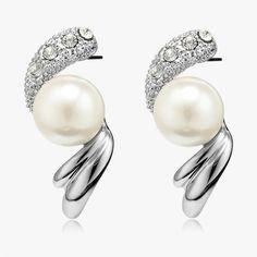 Pearl Twist Earrings Vintage Silver Pearl Post Earrings Rhinestone ($2.95) via Polyvore