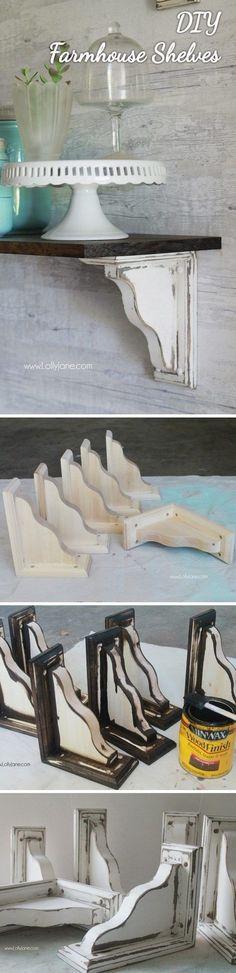 Check out how to make these easy #DIY #farmhouse style shelves #HomeDecorIdeas @istandarddesign