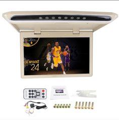 Flip Down Car LCD Monitor Automotive 15.6 inch HD Car Video TV Roof Mount Digital Digital Screen Monitor with 2AV Input Support 1080P Multimedia MP4/MPG Remote Control Overhead Monitor USB SD FM