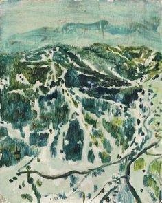 """""""Ski-Mountain"""" by Peter Doig, 1995 (oil on board)"""