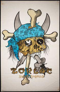 Zorlac Skateboards poster illustration by Pushead