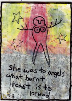 of angels and burnt toast e9Art ACEO Outsider Art Brut Folk Painting One-of-a-Kind Original