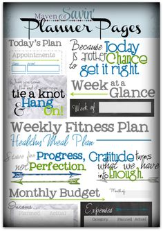 FREE Daily & Weekly Planner Pages!!  Includes: Daily Planner pages, Week-at-a-Glance, Weekly Fitness Plan, Monthly Budget and Expense Tracker