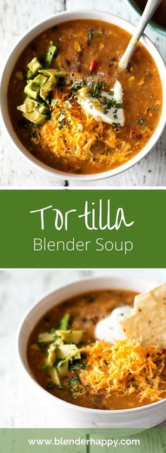 Tortilla blender soup made fresh in under ten minutes. Top it off with all of your favourite ingredients.