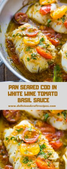 quick and clean recipe for Pan-Seared Cod in White Wine Tomato Basil Sauce! quick and clean recipe for Pan-Seared Cod in White Wine Tomato Basil Sauce! Tilapia Fish Recipes, Fried Fish Recipes, Salmon Recipes, Fish Sauce Recipes, Baked Whiting Fish Recipes, Clean Recipes, Cooking Recipes, Healthy Recipes, Food Dinners