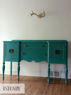 Could this BE any more lovely?    Turquoise Sideboard