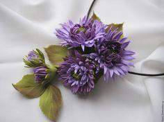 Купить Колье-брошь с цветами - сиреневый, лавандовый, колье с цветами, сиреневые цветы, цветы из фоамирана