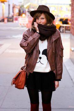 nyc vintage blog, vintage fashion blog, nyc vintage fashion blog, forever 21 panda sweater, vintage leather jacket