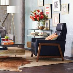 West Elm Contemporary Leather Recliner