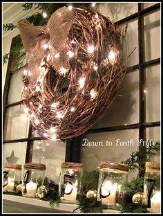 light up a grapevine wreath, add a burlap bow.