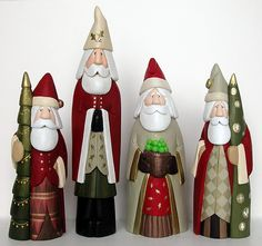 Carved Santas, Santa wood carving, Carved Santa, Hand carved Santas, Santas and Folk Art from Whittled Santas