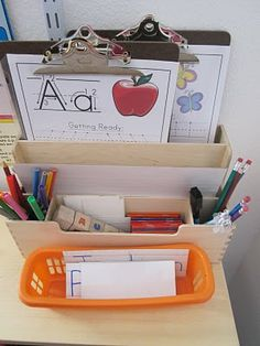 Little Hands, Big Work: A and B - uses confessions of a homeschooler Letter of the Week. I like the clipboards & writing utensil setup too. Great ideas to expand on Letter of the Week