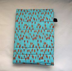 Blue and Orange fabric A5 Notebook Cover, Journal Cover, Diary Cover A5, Removable Book Cover, Fabric Slip-Cover, quilted padded book covers
