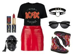 """Red Leather"" by girlbehindthebluedoor1590 on Polyvore featuring Boohoo, Barbara Bui, Dr. Martens and Killstar"