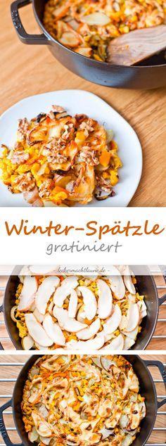 Winter-Spätzle mit Birne, Fenchel & Kürbis {frisch aus dem ofen}