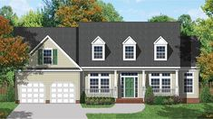 Home Plan HOMEPW77508 - 2631 Square Foot, 3 Bedroom 2 Bathroom Colonial Home with 2 Garage Bays | Homeplans.com