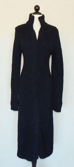 FREE PEOPLE Long Black Mohair Blend Knit Maxi Cardigan Winter Sweater Coat Sz S #FreePeople #Sweatercoat