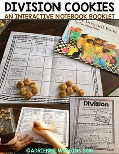 Enjoy this free interactive notebook booklet to introduce division using The Doorbell Rang by Pat Hutchins and Cookie Crisp Cereal. This freebie is from my Multiplication and Division Interactive Notebook. 3rd Grade Division, Teaching Division, Division Activities, Math Division, Multiplication And Division, Teaching Math, Math Fractions, Kindergarten Math, Second Grade Math