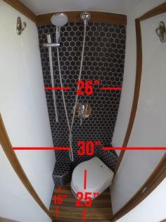 Sprinter Van Bathroom: Pros and Cons & Would I do it again? Sprinter Van bathroom dimensions - Create Your Own Van Sprinter Camper, Bus Camper, Camper Life, Shasta Camper, Camper Trailers, Travel Trailers, Camper Van Shower, Camper Bathroom, Van Conversion Interior