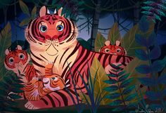 Mama Tigress and her Cubs by Jazzekat on DeviantArt