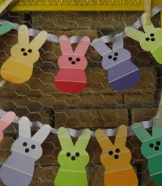 Paint chip bunny garland !!!!!! I SOO  Love this ! I'm a Paint chip~aholic And this can be incorporated in so many ways , but these Bunnies are soo cute!~~~  ❤•*¨ L☮Ve Fr☮m Me T☮ Y☮U!¨*•❤
